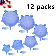 12Pcs Reusable Silicone Stretch Lids Kitchen Storage Wraps Cover 6 Sizes USA