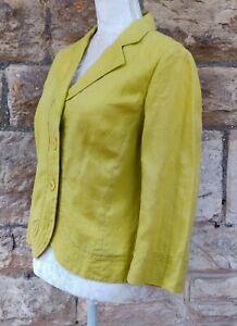 UK16 EU40 womens jacket CC lime green linen casual spring summer button front