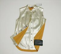 New 3.1 PHILLIP LIM gold sleeveless leather TOP SHIRT vest rrp £1130 size 2