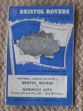 Bristol Rovers v Norwich City 27/02/1962