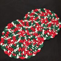 "Vintage Yarn Crocheted Christmas Doilies Set of 2 Table Centerpiece 16"" Rd EUC"