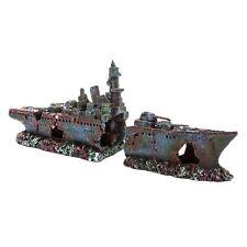 Gran fragata naufragio barco Pez Tanque Acuario Ornamento Naufragio Decoración MS966