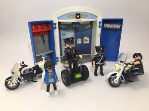 PLAYMOBIL CITY ACTION POLICE MOTORCYCLE & POLICE STATION PLAY BOXWITH FIGURES