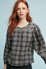 NWT ANTHROPOLOGIE EMBELLISHED FLANNEL SHIRT- SIZE X-SMALL