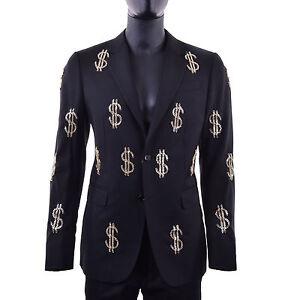 MOSCHINO COUTURE RUNWAY Wool Blazer Jacket with Dollar Sings Metal Black 05405