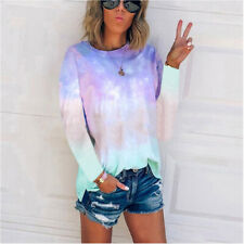 Women Long Sleeve Rainbow Tie Dye T-Shirt Blouse Loose Jumper Tops Sweatshirt UK