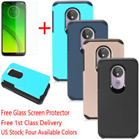 For Motorola Moto G7 Play/Power/Supra Armor Shockproof Case Cover+Tempered Glass