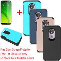 For Motorola Moto G7 Play/Power/Supra Armor Hybrid Bumper Case+Tempered Glass