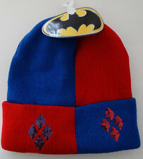 Harley Quinn Batman Sequin DC Comics Cuff Knit Hat Nwt