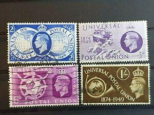 GRЕАT BRITAIN 1949 75th Anniversary of Universal Postal Uпiоп. 4 stamp set used