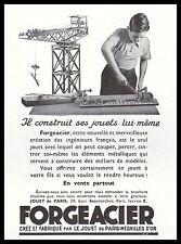 Publicité Jouet Ancien Jeu de Construction FORGEACIER photo vintage ad 1933 - 3h