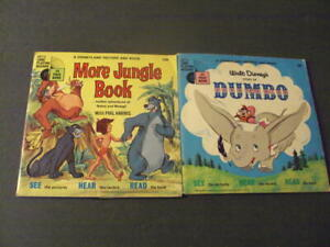 2 Disneyland Book and Record Winnie Dumbo, More Jungle Book Vinyl NM ID:58865