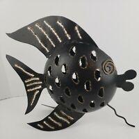 """Vintage Metal Art Fish Tea Light Holder 12""""x10.5"""""""