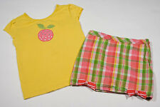 Gymboree Girls Sz 6 Top & Skort Preppy Peach Set Yellow Rhinestones Plaid Outfit