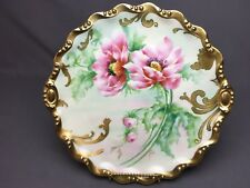 """Old Abbey Limoges 12&3/4"""" Pink Poppies Greenery Ornate Gold Artist Signed"""