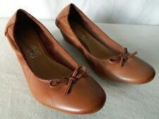 ae1deb27522a69 ANDRE Chaussures ballerines talon compensé élastique CUIR marron 36 état  NEUF