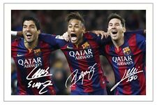 LUIS SUAREZ NEYMAR JR & LIONEL MESSI FC BARCELONA SIGNED PHOTO PRINT 2014/15