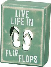 """LIVE LIFE IN FLIP FLOPS Wooden Box Sign 3"""" x 4"""", Primitives by Kathy"""