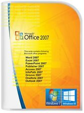 Microsoft Office 2007 for Windows 7 &10 Word/Excel/Outlook/Power P etc 3 PC user