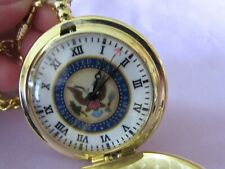 flip cover, pendant & clip for pocket New in box, unused goldtone pocket watch -