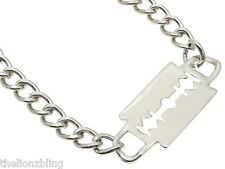 Gothic Hip Hop Fashion Silver Chain Choker Necklace & Razor Blade Pendant