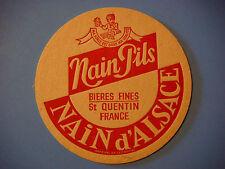 Vintage Beer Sous-Bock COASTER ~ NAIN d'ALSACE Pils Bieres ~ St Quentin, FRANCE