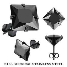 Black Stainless Steel Square Cz Stud Earrings Circle Single Pair mens/boys (K43)