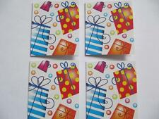 CHOICE OF 13 DIFFERENT COLOURFUL (4 TAGS PER PACK) SELF ADHESVIE GIFT TAGS
