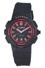 "NEW Haurex Italy Men's 2P504URN ""Tremor"" Red Rubber Date Watch"