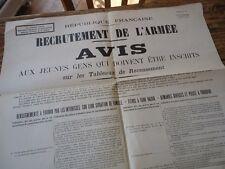 AFFICHE ORIGINAL RECRUTEMENT DE L' ARMEE 1925 49X74 INCORPORATION