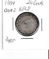 Canada 1894 Obv. 2 Newfoundland 20 cent silver