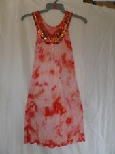 Y London Y262 Orange Combo A-line Round Neck Sleeveless Mini Dress Size S/8 UK