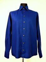 ETON Men's Long Sleeve Night Blue Wrinkle-free Cotton Dress Shirt size 44, 17½