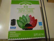 New  50 Holiday Time Diamond Cut C7 LED Color Changing Christmas Lights