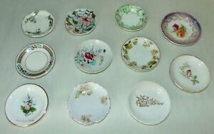 11 ANTIQUE Assorted BUTTER PATS Porcelain