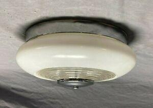 Vintage Mid Century Round Deco Bullseye Chrome Flush Mount Ceiling Light 89-21E