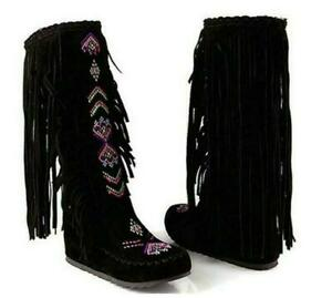 Women's Embroidered Indian Moccasins Knee High Boot Tassels Shoes