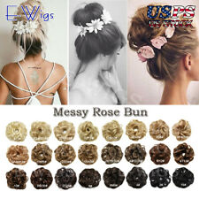 Quality Curly Messy Rose Bun Hair Scrunchie Fake Natural Extensions Hairpiece US