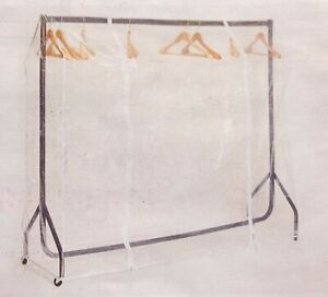 4ft Clothes Rail Cover Clear PVC Garment Rail Cover with Twin Zips 117cm x 125cm