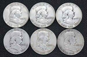 1949, 1950, 1951, 1952, 1953, 1954 Franklin Half Dollars Circulated (Lot of 6)