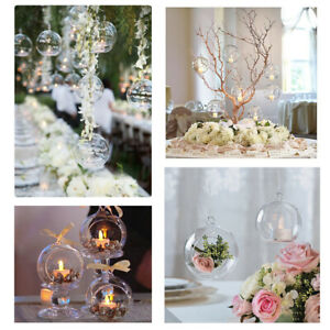 6-36x Hanging Tea Light Holder Clear Glass Bauble Xmas Wedding Tealight Decor