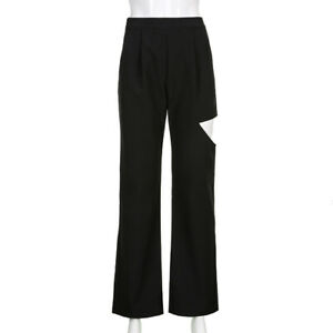 Womens Black Flared Long Pants High Waist Flares Trousers Cut Out Hole
