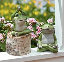 Frog Figurines Set Small Whimsical Exercising Yoga Partners Ceramic Gift Idea