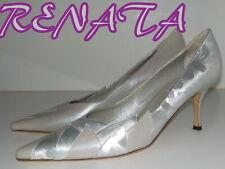 "Luxury Italian ""RENATA"" Silver  ALL LEATHER  Court  Shoes UK  7.5  EU 40.5  £165"