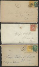 CANADA 1880s THREE COVERS FRANKED SMALL QUEENS MAILED ABOARD MCPHERSON FERRY TO