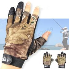 Fishing Hunting Gloves 3 Fingerless Anti-slip Waterproof Camo Shooting Mitts
