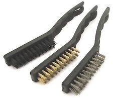 "3Pc 9"" Hand Wire Brush Set Nylon Brass Steel Rust Paint Dirt Welding Removal"