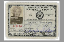 Marilyn Monroe Government ID Badge PHOTO 5x7 Card Signed Repro DOD USO Tour 1954