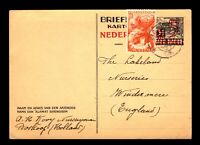 Netherlands Indies 1945 Uprated Postal Card to UK - L9774