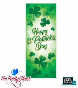 HAPPY ST PATRICKS DAY DOOR COVER Shamrock Leaf Welcome Irish Party Door Cover